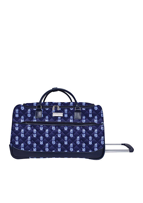 Jessica Simpson Quilted Pineapple Rolling Duffel