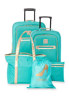 New Directions® 5-Piece Turquoise with Gold Trim Luggage Set