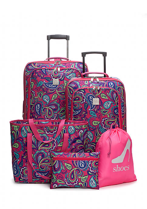 New Directions 174 5 Piece Pink Paisley Luggage Set Belk