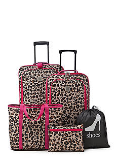 New Directions® 5-Piece Cheetah Print Luggage Set