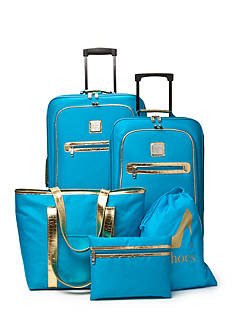 New Directions® 5-Piece Turquoise with Gold Crocodile Trim Luggage Set