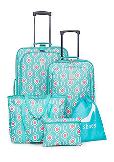 New Directions® 5-Piece Aqua Coral Lattice Luggage Collection