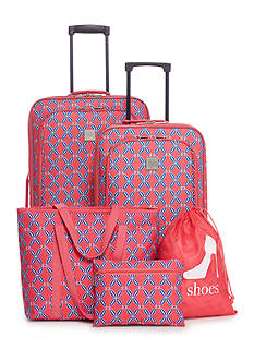 New Directions® 5-Piece Coral Lattice Mosaic Luggage Set