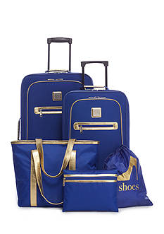 New Directions® 5-Piece Delta Blue with Gold Trim Luggage Set