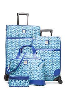 4-Piece Turquoise Rocco Medallion Luggage Set