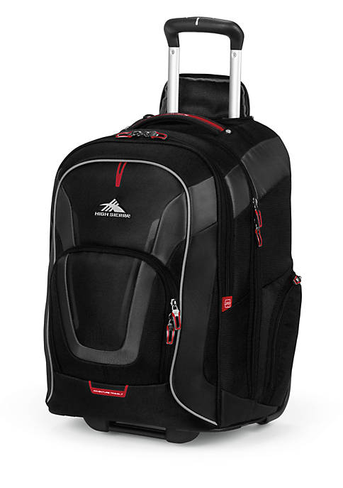 Adventure Travel 7 Carry On Wheeled Backpack with Detachable Daypack - Black 14-in. x 22-in. x 8