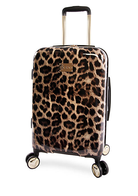 Bebe Adriana Leopard Print Carry On Spinner Luggage