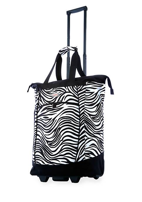 Fashion Rolling Shopper Tote Zebra