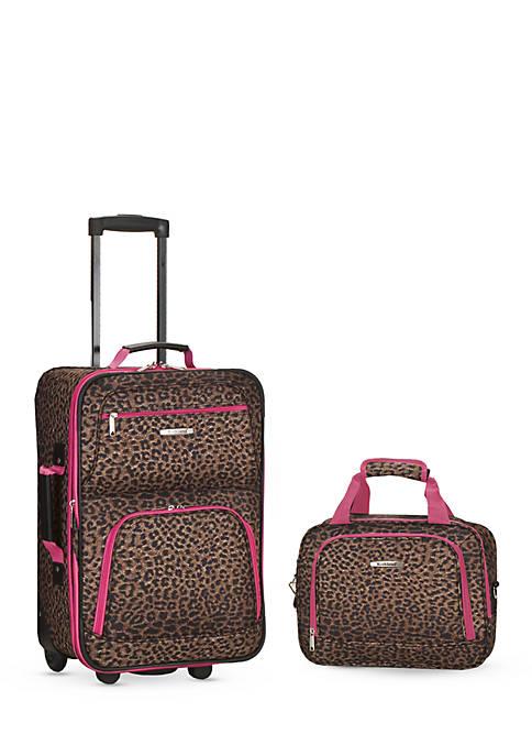 2 Piece Luggage Set - Brown Leopard