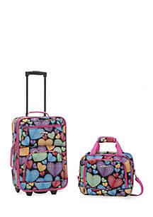 2 Piece Luggage Set - Hearts