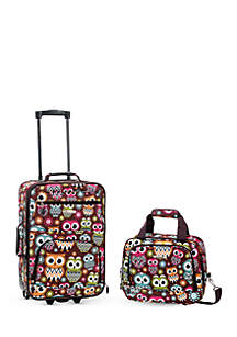 2 Piece Luggage Set - Owl
