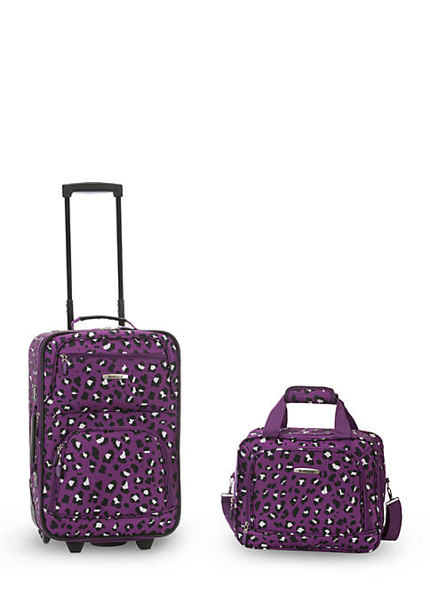 2 Piece Luggage Set - Purple Leopard