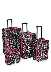 4 Piece Printed Luggage Set - Giraffe