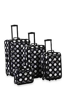 4 Piece Printed Luggage Set - Black Dot