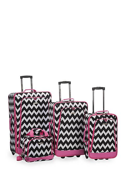 4-Piece Printed Luggage Set - Pink Chevron