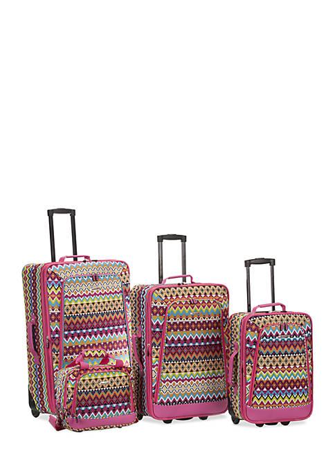 4 Piece Printed Luggage Set - Tribal