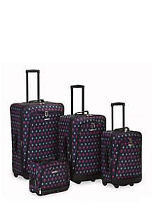 4 Piece Printed Luggage Set - Black Icon
