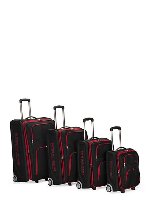 4 Piece Varsity Rockland Polo Equipment Upright Luggage Set - Black