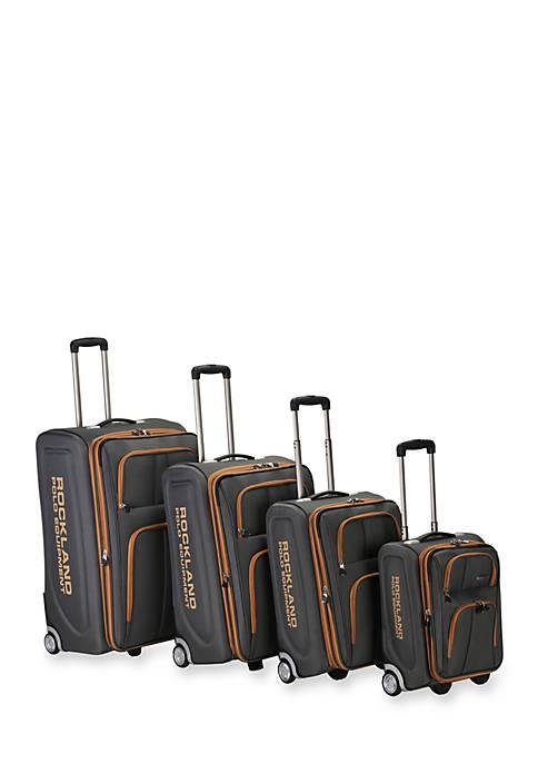 4 Piece Varsity Rockland Polo Equipment Upright Luggage Set - Charcoal