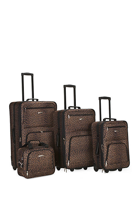 4 Piece Printed Luggage Set - Brown Leopard