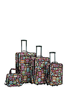 4 Piece Printed Luggage Set - Owl