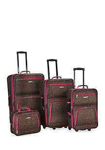 4 Piece Printed Luggage Set - Pink Leopard