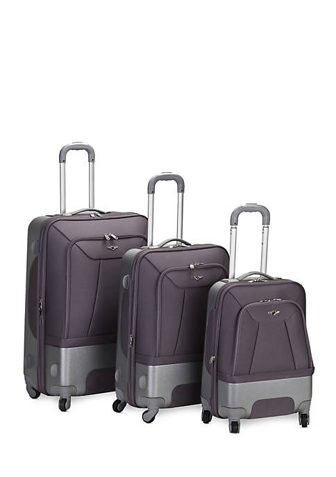 Rockland 3 Piece Rome Hybrid Spinner Luggage Set