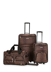 3 Piece Luggage Set - Leopard