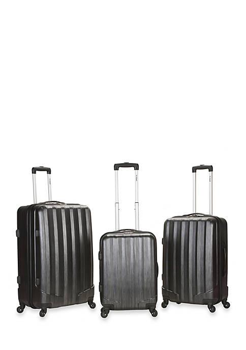 3 Piece Metallic Luggage Set - Carbon