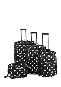 4 Piece Luggage Set - Black Dot