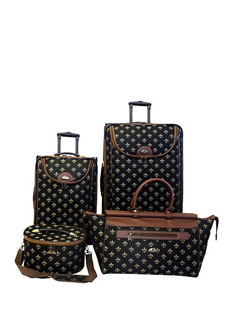 American Flyer Fleur De Lis 4-Piece Luggage Set