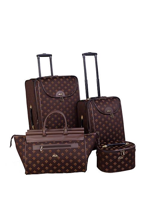 Fleur De Lis 4-Piece Luggage Set