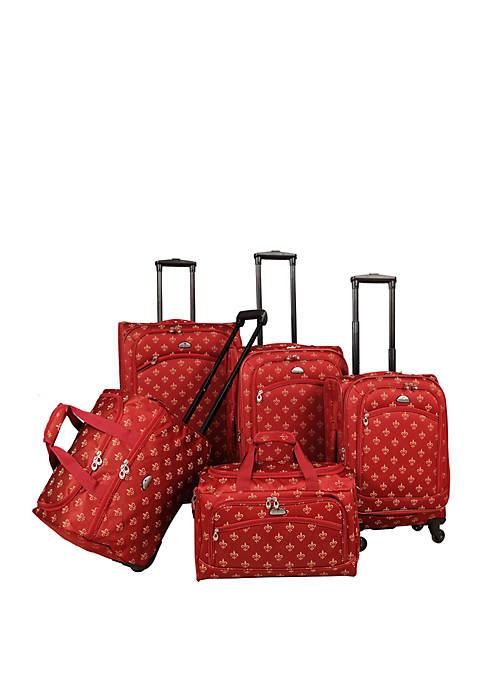 American Flyer Fleur de Lis 5-Piece Spinner Luggage