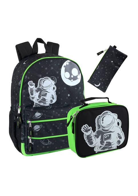 Glow in the Dark 3 in 1 Space Backpack Set