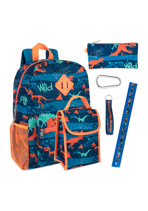 Lightning Bug Dino 6 in 1 Backpack Set