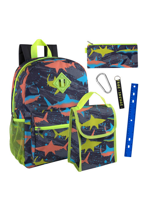 Lightning Bug Sharks 6 in 1 Backpack Set