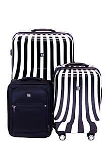 White Swirl 3-Piece Luggage Set