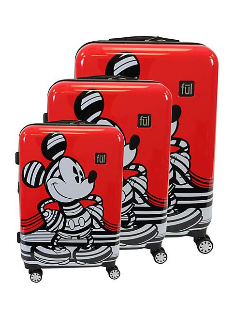 Striped Mickey 3-Piece Luggage Set