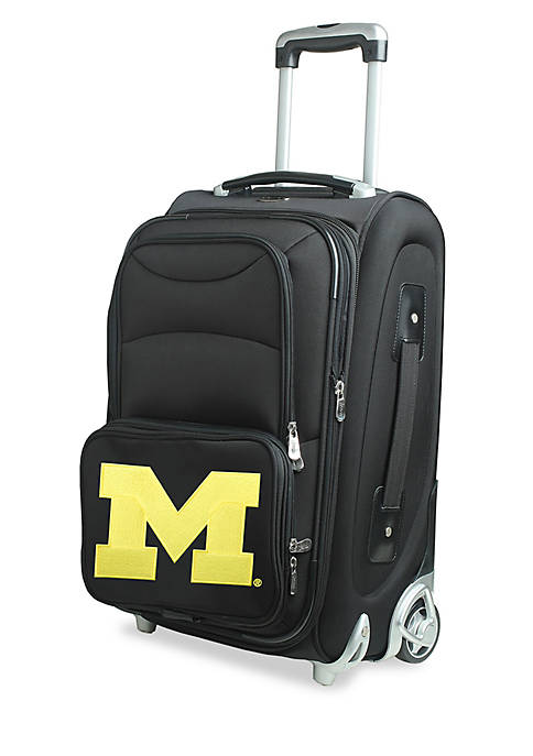 Denco NCAA Michigan Luggage Carry-On Rolling Softside Nylon
