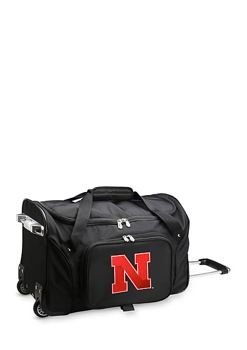 Denco NCAA Nebraska 22-in. Wheeled Duffel Nylon Bag