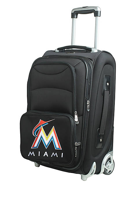 Denco MLB Miami Marlins Luggage Carry-On Rolling Softside