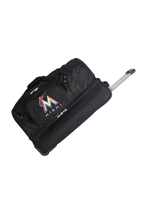 Denco MLB Miami Marlins Wheeled Duffel Nylon Bag