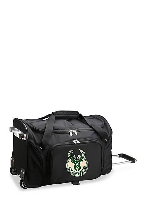 Denco NBA Milwaukee Bucks Wheeled Duffel Nylon Bag