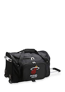 Denco NBA Miami Heat 22in Wheeled Duffel Nylon Bag in Black