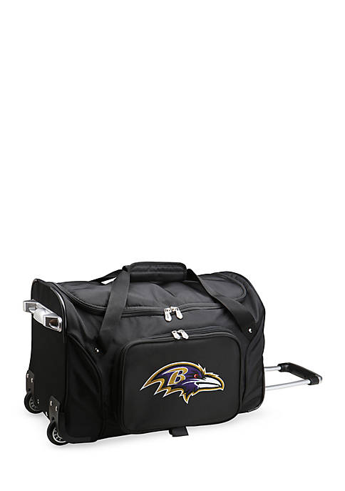 Denco NFL Baltimore Ravens Wheeled Duffel Nylon Bag