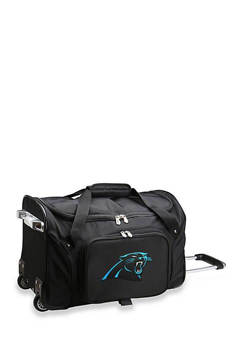 Denco NFL Carolina Panthers Wheeled Duffel Nylon Bag