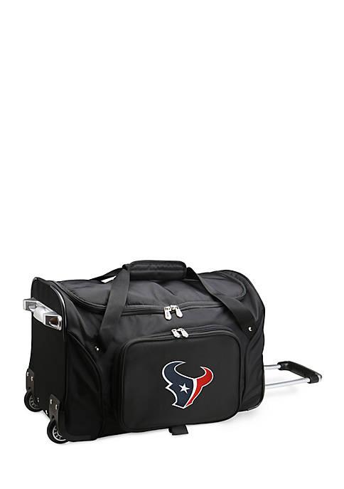 Denco NFL Houston Texans Wheeled Duffel Nylon Bag