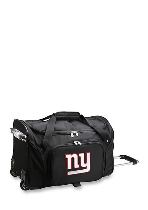 NFL New York Giants Wheeled Duffel Nylon Bag in Black