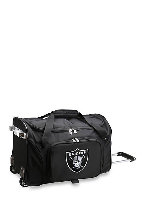 NFL Oakland Raiders Wheeled Duffel Nylon Bag in Black