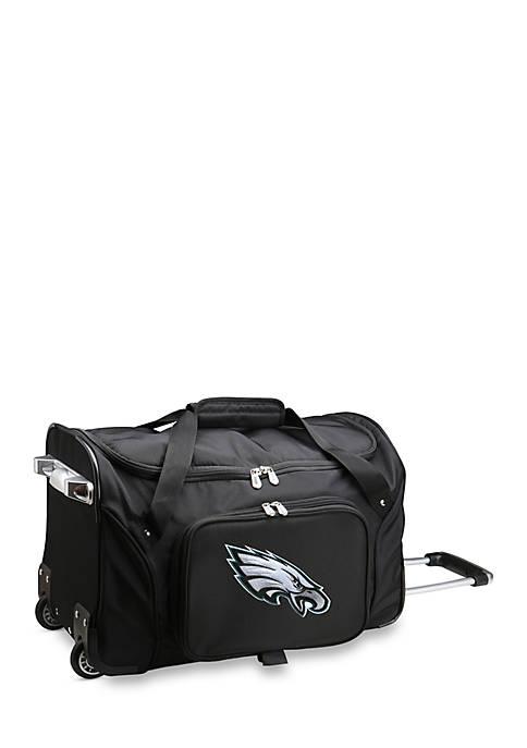NFL Philadelphia Eagles Wheeled Duffel Nylon Bag in Black